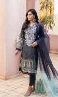 Shirt: Digital Printed Lawn Dupatta: Tie & Die Organza Trouser: Dyed Cambric  Embroidery Details: Thread and Sequins Embroidered Gala on Shirt Thread Embroidered Corner on Dupatta