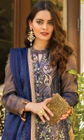 Fabric Details: Shirt Front: Embroidered Raw Silk Shirt Back: Dyed Raw Silk Shirt Inner: Dyed Grip Dupatta: Embroidered Organza Zari Stripe Trouser: Dyed Raw Silk  Embroidery Details: Embroidered Raw Silk Front with sequins and tilla work Embroidered Raw Silk Sleeves with sequins and tilla work Embroidered Organza Zari Stripe Dupatta with sequins and tilla work Embroidered Trouser Border