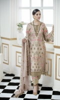 Front Embroidery with Tilla, Back Embroidery with Tilla, Sleeves with Tilla, Two Side Border Dupatta, Front and Back Patti, Embroidered Patches for Trouser