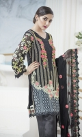 Front Embroidery of thread  Back embroidery of thread  Sleeves of thread and tilla  Two side border dupatta  Front patch and back patti  Sleeves patti trouser with patch