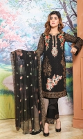 Front And Back Embroidery,  Embroidered Tilla, Sleeves, Extra Side Panels,  Front Patch Of Motif Two Side Border Dupatta,  Back Patti, Embroidery Patches For Trouser
