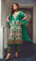 Front And Back Tilla Embroidery, Back Embriodery  And Extra Side Panels, Embroidered Sleeves,  Two Side Border Shawl, Front And Back Patti,  Embroidery Tilla Patches For Trouser