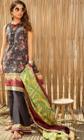 Digital Printed Lawn Shirt : 3.1 Meters Lawn Dupatta : 2.54 Meters Dyed Cambric Pant : 2.54 Meters