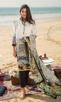 Digital Printed Lawn Shirt : 3.1 Meters Silk Dupatta : 2.54 Meters Dyed Cambric Pant : 2.54 Meters
