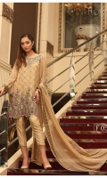 Embroidered Chiffon Front : 1 yard Embroidered Chiffon Back : 1 yard Embroidered Chiffon Sleeves : 0.65 yard Embroidered Chiffon Neck Patch : 1 pic Raw Silk Trouser : 2.5 yards Embroidered Chiffon Dupatta : 2.5 yards