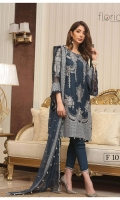 Embroidered Chiffon Front : 0.7 yard Embroidered Chiffon Back : 1 yard Embroidered Chiffon Sleeves : 0.65 yard Raw Silk Trouser : 2.5 yards Embroidered Chiffon Dupatta : 2.5 yards