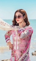 1.25m Digital Printed Lawn Front 1.25m Digital Printed Lawn Back 0.66m Digital Printed Lawn Sleeves 2 m Schiffli Embroidered Lace for shirt and Sleeves 2.5m Digital printed Crinkle Chiffon Dupatta 2.5m Dyed Cotton Trouser 1 m Embroidered Border for Trouser