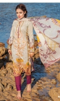 1.25m Digital Printed Lawn Front 1.25m Digital Printed Lawn Back 0.66m Digital Printed and Embroidered Lawn Sleeves 2.5m Digital printed Crinkle Chiffon Dupatta 2.5m Dyed Cotton Trouser 1 m Schiffli Embroidered Border for Trouser
