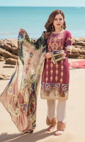 1.25m Digital Printed and Embroidered Lawn Front 1.25m Digital Printed Lawn Back 0.66m Digital Printed Lawn Sleeves 2.5m Digital printed Crinkle Chiffon Dupatta 2.5m Dyed Cotton Trouser 1m Embroidered border for Trouser