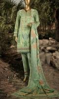 Printed Pima Lawn Shirt 3.0m. Printed Pima Lawn Dupatta 2.5m. Dyed Trouser 2.5m