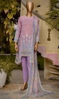 Printed lawn shirt 3.0M. Pure chiffon dupatta 2.5M. Dyed trouser 2.5M.