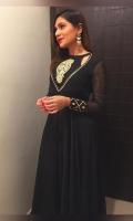 Black Beautiful 3 Piece dress Frock: Chiffon Crush Pant: Chiffon Dupatta: Cotton net Zarri work and embroidery