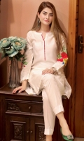White cotton net dress with delicate embroidery on sleeves and pearls at the end of sleeves and shirt