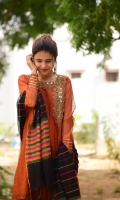 Burned Orange, weaved in Black & Orange color, our traditional charmer with multi colored khaddi net weaved dupatta. Embellished with zarri work and mirror detailing on the neck It is 3 piece stitche