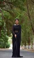 Black chiffon sarre with embroidery on paloo and blouse stone work on blouse
