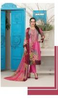 - Stylish Unstitched Lawn Shirt  - Fancy Chiffon Dupatta  - Dyed Cambric Shalwar