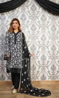 Embroidered Lawn Front Embroidered Lawn Back Embroidered Lawn Sleeves Embroidered Chiffon Dupatta Embroidered Front, Back & Sleeves Patti Cambric Trousers