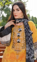 Printed Lawn Front, Back & Sleeves Printed Chiffon Dupatta Embroidered Neckline Embroidered Front & Back Ghera Patti Embroidered Sleeves Patti Embroidered Kites (21Qty) Dyed Trousers