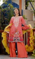 Printed Lawn Front, Back & Sleeves Printed Chiffon Dupatta Embroidered Neckline Embroidered Sleeves Patti Embroidered Side Patti Dyed Trousers