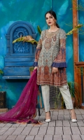 Printed Lawn Front, Back & Sleeves Embroidered Net Dupatta Embroidered Neckline Embroidered Sleeves Patch Dyed Trousers