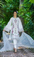 Schiffli Embroidered Lawn Front Lawn Back & Sleeves Embroidered Organza Dupatta Front & Back Border Patti Embroidered Neckline Dupatta Patti Plain Cambric Trouser