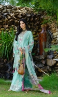 Schiffli Embroidered Lawn Front, Back & Sleeves Digital Printed Chiffon Dupatta Embroidered Neckline Embroidered Trouser Patti Plain Cambric Trouser