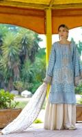 Schiffli Embroidered Lawn Front, Back & Sleeves Organza Jacquard Dupatta Back Border Patti Sleeves Border Patti Embroidered Neckline Patti Embroidered Dupatta Patti Plain Cambric Trousers