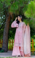 Schiffli Embroidered Lawn Front, Back & Sleeves Embroidered Organza Dupatta Front & Back Border Patti Sleeves Border Patti Embroidered Neckline Embroidered Side Patti Dupatta Patti Trouser Patti Plain Cambric Trouser