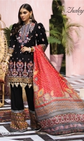 Embroidered Lawn Front Embroidered Lawn Back Embroidered Lawn Sleeves Embroidered Front Daman Border Embroidered Chaak Border Embroidered Sleeve Border Embroidered Neckline Cambric Cotton Trouser Embroidered Trouser Borders X 2 Digital Printed Trouser Border Digital Printed Silk Dupatta