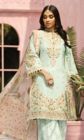 Embroidered Lawn Front Embroidered Lawn Back Embroidered Lawn Sleeves Embroidered Sleeve Motif Embroidered Sleeve Border Embroidered Front Border Embroidered Back Border Embroidered Neckline Paste Printed Cambric Cotton Trouser Digital Printed Trouser Border Embroidered Net Dupatta Digital Printed Dupatta Pallu Digital Printed Dupatta Patti