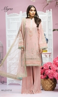 Embroidered Lawn Front Embroidered Lawn Back Plain Lawn Sleeves Embroidered Sleeve Motif Embroidered Sleeve Border Embroidered Front Daman Borders x 2 Embroidered Neckline Schiffli Cotton Trouser Embroidered Net Dupatta Embroidered Dupatta Pallu Embroidered Dupatta Border