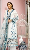 Schiffli Lawn Front + Sleeves Embroidered Lawn Back Embroidered Sleeves Borders X 2 Embroidered Back Borders X 2 Embroidered Front Daman Borders X 3 Embroidered Chaak Border Embroidered Sleeve Motif Embroidered Front Motif X 2 Embroidered Neckline Cambric Cotton Trouser Digital Printed Trouser Patti Embroidered Net Dupatta Digital Printed Dupatta Patti