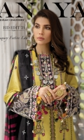 """Embroidered Textured Dobby Lawn Shirt Front Textured Dobby Lawn Shirt Side Panels Textured Dobby Lawn Shirt Back Textured Dobby Lawn Embroidered Sleeves Embroidered Sleeve Border Embroidered Daman Border Embroidered Side Panel Connectors Embroidered Neckline """"Paste Printed"""" Dyed Cambric Cotton Trouser """"Paste Printed"""" Cotton Net Woven Dupatta Digital Printed """"Chatta Patti"""" for Dupatta"""
