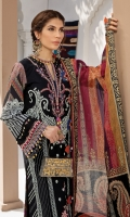 """Paste-printed Lawn Shirt (Front and Back) Digital & Paste Printed Lawn Sleeves Embroidered Daman Borders x 2 Embroidered Sleeve Borders Embroidered Neckline Embroidered Front Panel Motif Embroidered Front + Back Neckline Digital Printed """"Chatta Patti"""" border for Shirt Dyed Cambric Cotton Trouser Embroidered Trouser Motifs Digital Printed Textured Silk Dupatta"""