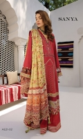 Embroidered Lawn Shirt Front Embroidered Lawn Shirt Back Plain Lawn Sleeves Embroidered Daman Border x 4 pcs Embroidered Daman Border with mirror work Embroidered Sleeve Border Embroidered Sleeve Border with mirror work Embroidered Front Side Border Embroidered Neckline Patti Dyed Cambric Cotton Trouser Digital Printed Silk Dupatta