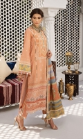 """Embroidered Lawn Shirt Centre Panel Embroidered Lawn Shirt Side Panels x 2 Embroidered Lawn Shirt Back Embroidered Lawn Sleeves Digital Printed Sleeve Border Embroidered Shirt Panel Connectors Embroidered Daman Border Dyed Cambric Cotton Trouser Cotton Net Woven Dupatta Digital Printed Dupatta """"Pallu"""" and Borders """"Banarsi"""" Woven Dupatta Borders"""