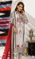 Embroidered Lawn Shirt Central Panel Screen Printed Lawn Shirt Side Panels, Back & Sleeves Embroidered Sleeve Border Embroidered Daman Border Dyed Cambric Cotton Trouser Embroidered Trouser Border Woven Cotton Organza Dupatta Digital Printed Dupatta Corners Digital Printed Dupatta Borders