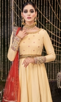 """A """"zari khaddi"""" net """"peshwas"""" with embroidered and embellished neckline , bodice, sleeve cuffs and belt and """"gota"""" lace and embroidered hem. Jacquard trouser. Net """"dupatta"""" with printed silk """"pallus""""."""