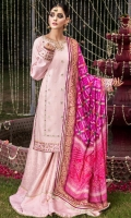 """Zari gold """"khaddi"""" net shirt with embroidered and sequins embellished front and block printed sleeve cuffs and shirt border enhanced with """"gota"""", """"naqshi"""" and pearls. Jacquard """"sharara"""" with embroidered and sequins embellished """"sharara"""" bottom. Chunri printed silk dupatta."""