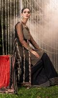"Net ""peshwas"" with gold ""tilla"" embroidery , sequins embellishment and block printed borders. Block printed ""Kataan"" silk lining. ""Kataan"" silk ""sharara"" with ""Gota"" stitched detailing. Printed tissue silk ""dupatta"" with ""Gota kinari"" trims."