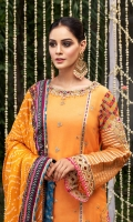 """Chiffon shirt with embellished neckline and embroidered shirt front and sleeves with cut-work sleeve cuffs and shirt hem. Jacquard trouser. Printed silk dupatta with """"gota"""" and embroidered trims."""