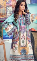 Digital Printed Lawn Shirt Embroidered Neckline Embroidered Front Daman Border Embroidered Sleeve Border Embroidered Trouser Border Embroidered Trouser Patti Cambric Cotton Trouser Digital Printed Chiffon Dupatta
