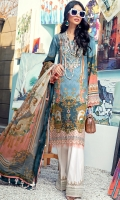 Digital Printed Lawn Shirt Embroidered Neckline Embroidered Front Daman Border Embroidered Sleeve Border Embroidered Trouser Border Cambric Cotton Trouser Digital Printed Chiffon Dupatta