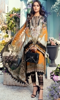 Digital Printed Lawn Shirt Embroidered Neckline Embroidered Front Daman Border Embroidered Sleeve Border Embroidered Trouser Border + Printed Patti Cambric Cotton Trouser Digital Printed Chiffon Dupatta