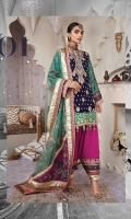 Embroidered Chiffon Front Embroidered Chiffon Back Kattan Silk Printed Sleeves Embroidered Sleeves Border Embroidered Daman Patch Embroidered Daman Front Border Embroidered Neckline Embroidered Back Border Raw Silk Trouser Kattan Silk Printed Trouser Border Embroidered Trouser Border Kattan Silk Screen print Trouser + Shirt Trim Embroidered Net Dupatta Kattan Silk Printed Dupatta Pallu Kattan Silk Screen Print Dupatta Border 1 Kattan Silk Screen Print Dupatta Border 2