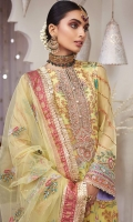 Embroidered Chiffon Front Embroidered Chiffon Back Embroidered Chiffon Sleeves Embroidered Sleeves Motif Embroidered Sleeves Border 1 Embroidered Sleeves Border 2 Embroidered Neckline Embroidered Shirt Border 1 Embroidered Shirt Border 2 Embroidered Slit Border Embroidered Back Border Raw Silk Trouser Charmeuse Silk Printed Trouser Border Kattan Silk Screen Print Shirt Trim Embroidered Net Dupatta Kattan Silk Screen Print Dupatta Border & Pallu Charmeuse Silk Printed Dupatta Pallu