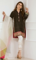 """For the modern diva in you. Thi trend inspiring straight pure raw silk kurta  """"Noir Night"""" is brought to life with juxtaposition of block prints and handmade tassels. The color blocked dupatta adds a twist making this piece a head turner."""