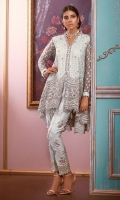 """Presenting our oh so favourite design from our Eid Collection """"Shimmering Snowflake"""". This gorgeous high low design is made of opulent floral embroidery inspired from flora and funna which is further adorned with pearls, sequins and light catching crystals. The hand block printed pants complete the look, made this outfit head turner."""