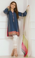 """For the modern diva in you. Thi trend inspiring straight pure raw silk kurta """"Sartorial blue"""" is brought to life with juxtaposition of block prints and handmade tassels. The color blocked dupatta adds a twist making this piece a head turner."""