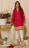 """For the modern diva in you. This trend inspiring straight pure raw silk kurta """"Strawberry Sorbet"""" is brought to life with juxtaposition of block prints and handmade tassels. The color blocked organza dupatta adds a twist, making this piece a head turner."""